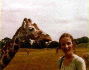 Giraffe and Young Woman
