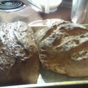 Two loaves of bread.