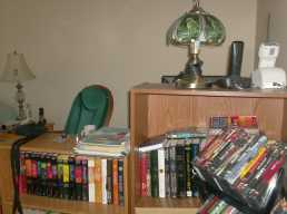 Computer desk and shelves