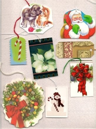 Gift tags made out of gift cards.