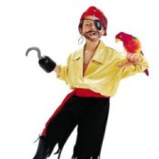 Boy in a homemade pirate costume with a parrot.