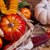 Fall decoration with pumpkins, gourds, and Indian corn.
