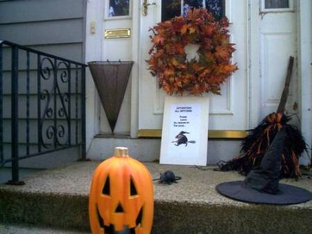 Halloween Sign on Decorated Front Porch
