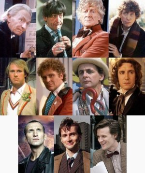 A photo of all the different actor's who played Doctor Who.