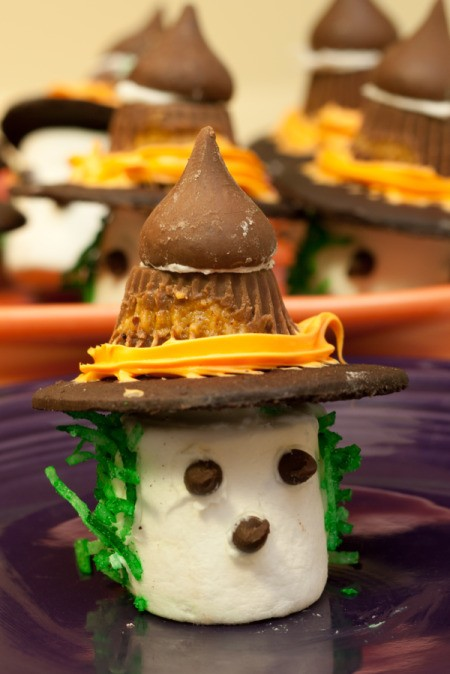 Closeup of Marshmallow Witch on Purple Plate