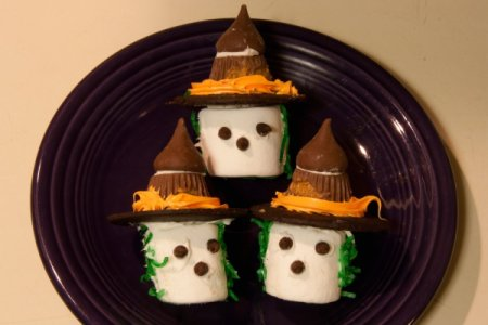 Three Marshmallow Witches on a Purple Plate