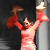 Woman Dressed in Red Flamenco Dancer Costume