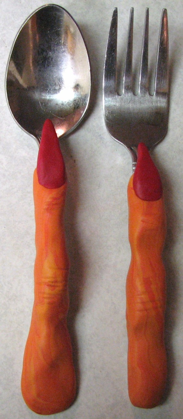 Finished witch finger cutlery.