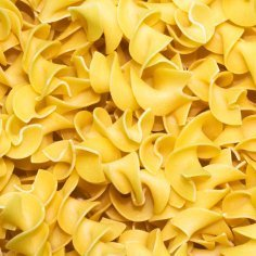 Upclose photo of egg noodles.