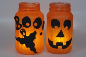 Jack-O-Lanterns Glowing on White Background