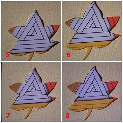 Four photos of colored paper strips being placed on top of quilt patten underneath the stencil.