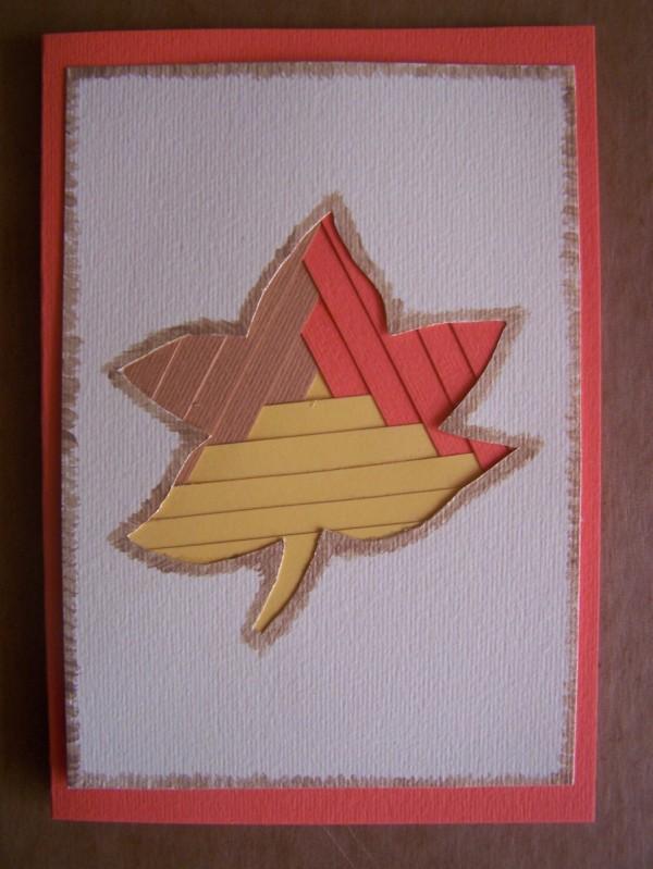 The finished Fall leaf card.