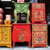 Painted Chinese furniture.
