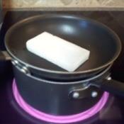 Improvised double boiler.