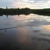 Sunset at Lake with Fishing Pole