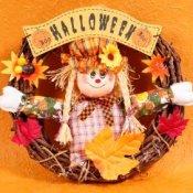 Scarecrow in Halloween Wreath