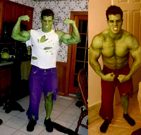 two pictures of a man dressed as the incredible hulk