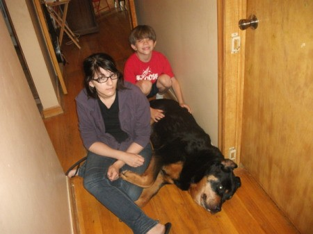 A rottweiler and his family.