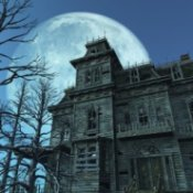 Haunted house with a full moon in the background.