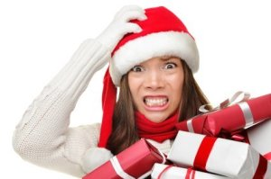 Stressed Out Woman With Christmas Presents
