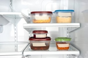 Refrigerator With Leftovers in Tupperware