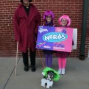 Two Little Girls in Nerds Box Costume Next to Wonka