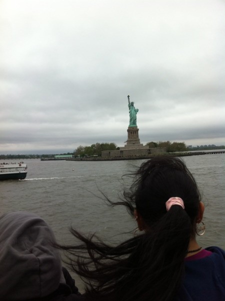 Looking at Statue of Liberty From Boat