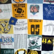 Photo of a quilt made with tshirts.