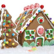 Making a Gingerbread House, A gingerbread house and tree.