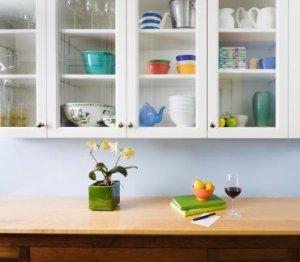 Photo of organized kitchen cabinets.
