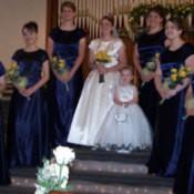Photo of girls wearing homemade bridesmaid dresses.