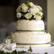 Two tiered wedding cake with flowers on top.