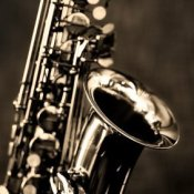 Closeup of a saxophone.