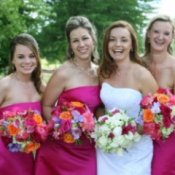 A bride and bridesmaids.