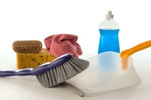 Photo of spring cleaning supplies.