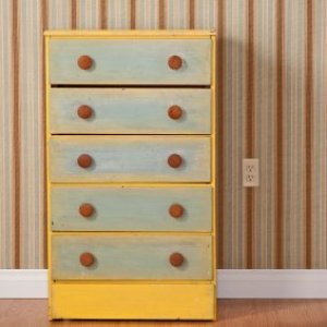 A colorful wooden dresser.