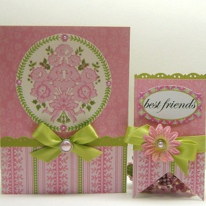 "A pink and green handmade card and tag that says ""Best Friends."""
