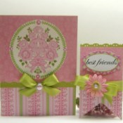 """A pink and green handmade card and tag that says """"Best Friends."""""""