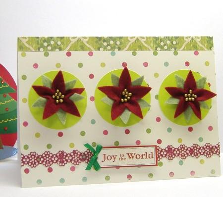 card with 3 felt poinsettias