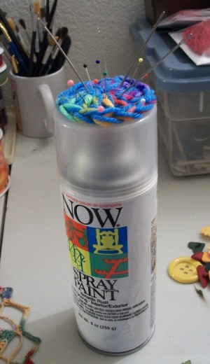 Full size view of the paint can with the pin cushion attached to lid.