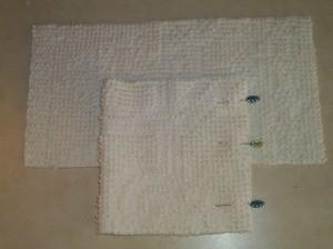 Pinning chenille fabric to make Santa's head.