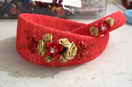 Decorative lace wrapped headband and bangle.