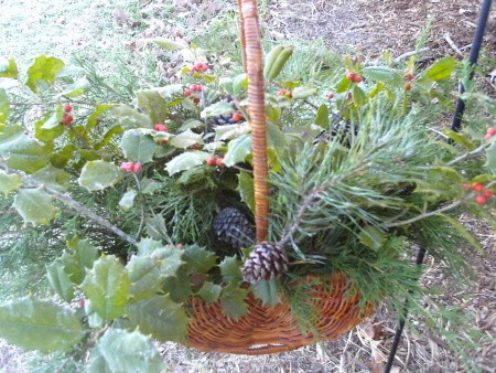 Decorative Basket with Fall display in it