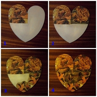 Heart covered in fall paper