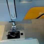View into the bobbin area of machine.