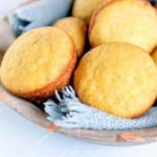 A basket of cornbread muffins.