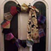 A Christmas wreath made from neckties.