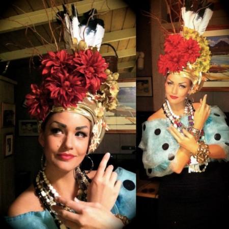 A homemade Carmen Miranda Halloween costume
