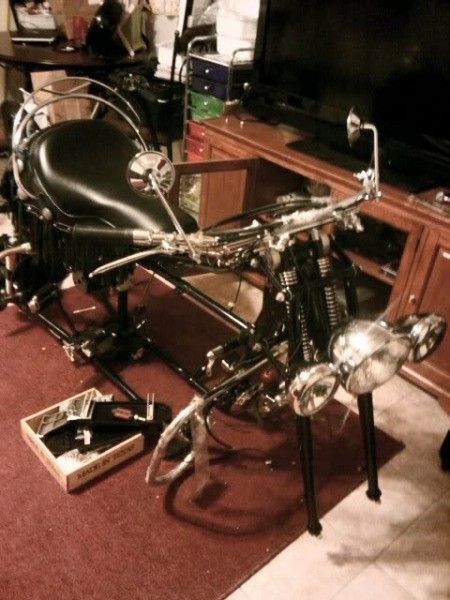 Indian Motorcycle Frame in Living Room