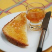 Toast and orange marmalade.